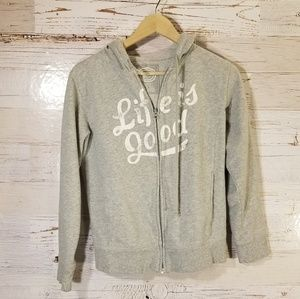 Life is good full zip hooded sweatshirt